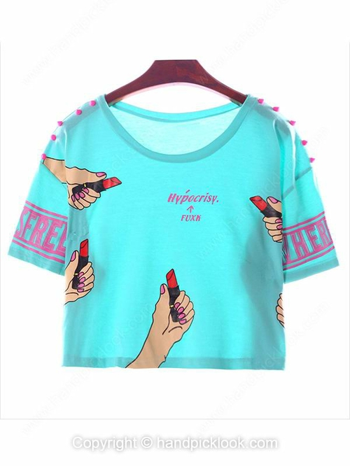 Blue Round Neck Short Sleeve Hand & Lipstick Print Crop T-Shirt - HandpickLook.com