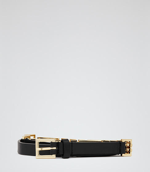 Adelaide Black Gate Chain And Leather Belt - REISS