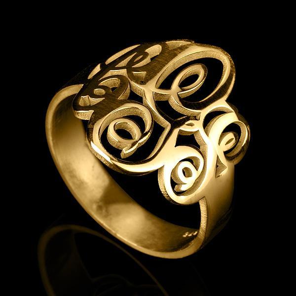 24K Gold Plated Interlocking Three Initials Monogram Ring - Onecklace