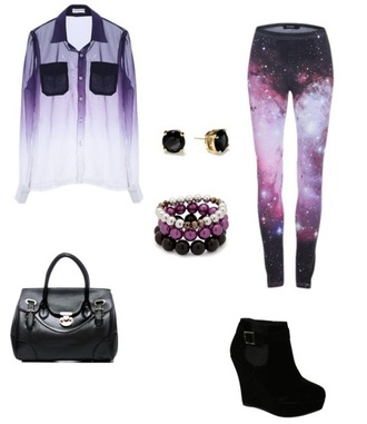 pants galaxy print high heels accessory bag shirt black white purple