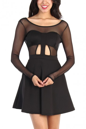 LoveMelrose.com From Harry & Molly   CUT OUT FLARE DRESS - BLACK