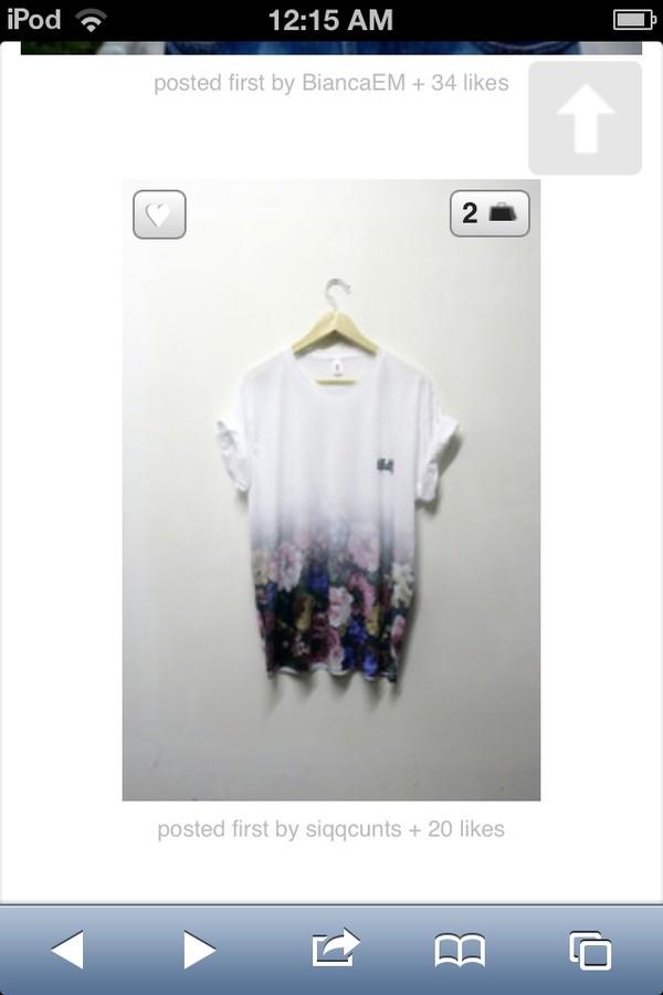 shirt oversized t-shirt t-shirt flowers semi-faded