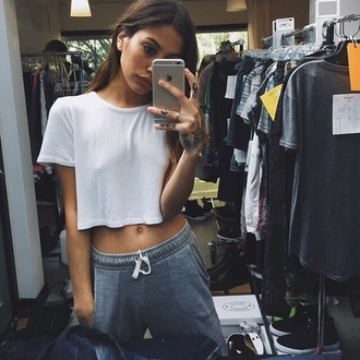 top white top white crop tops gray sweats grey sweatpants sweatpants sweats joggers joggers pants swag gorgeous tumblr tumblr outfit tumblr shirt tumblr top tumblr girl boyish tattoo style stylish trendy trending  now outfit idea fashion inspo fashion blogger fashionista chill rad casual pretty cute on point clothing cool dope pants