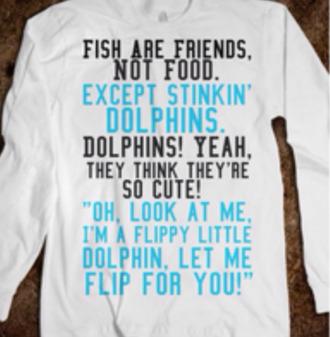 sweater sweatshirt nemo movie disney quote on it fish are friends dolphins skreened