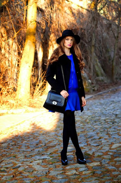 only my fashion style blogger hat blue dress blouse skirt bag sweater