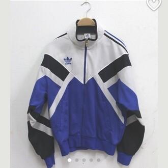 jacket white blue black windbreaket adidas windbreak vintage vintage windbreaker