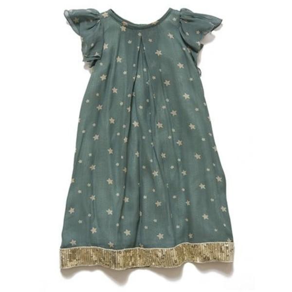 dress blue stars short sleeve light blue gold sequins
