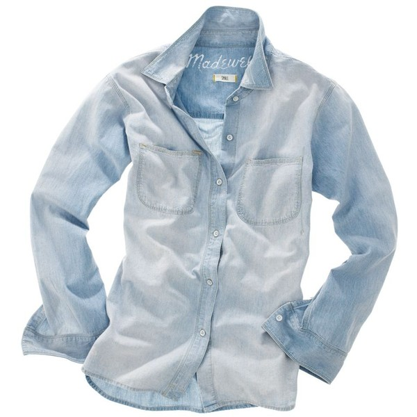 MADEWELL Perfect Chambray Ex-Boyfriend Shirt in Ferrous Wash - Polyvore