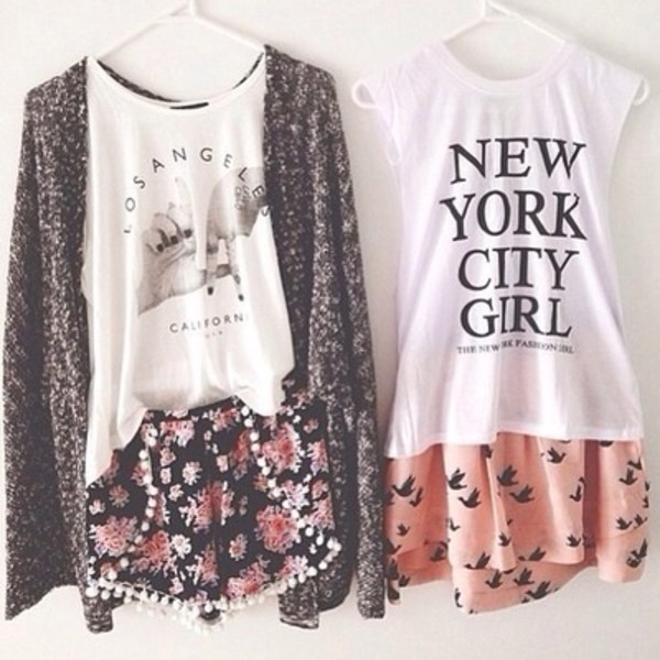 new york city los angeles california muscle tee graphic tee pom pom shorts flowered shorts birds salmon shorts white top summer outfits outfit outfit idea cardigan shirt t-shirt floral skirt pink grey grey