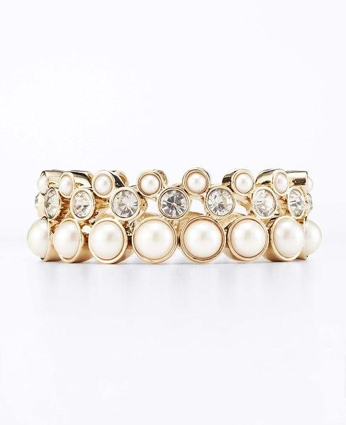 Pearlized Crystal Stretch Bracelet | Ann Taylor