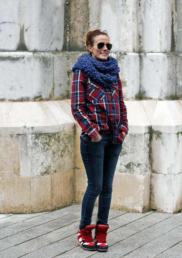 rebel attitude scarf shirt jeans shoes