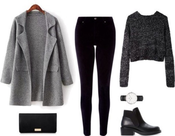 coat grey felt outfit idea gris grey droit long manteau