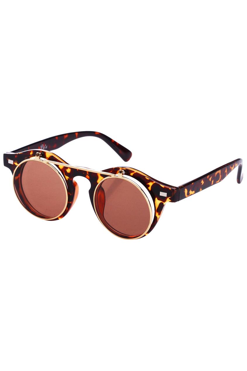 ROMWE | Double-layered Leopard Round Sunglasses, The Latest Street Fashion