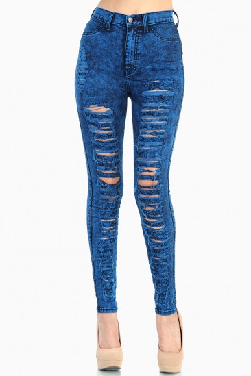 LoveMelrose.com From Harry & Molly   Royal Blue Distressed High Waist Jeans - Acid Wash