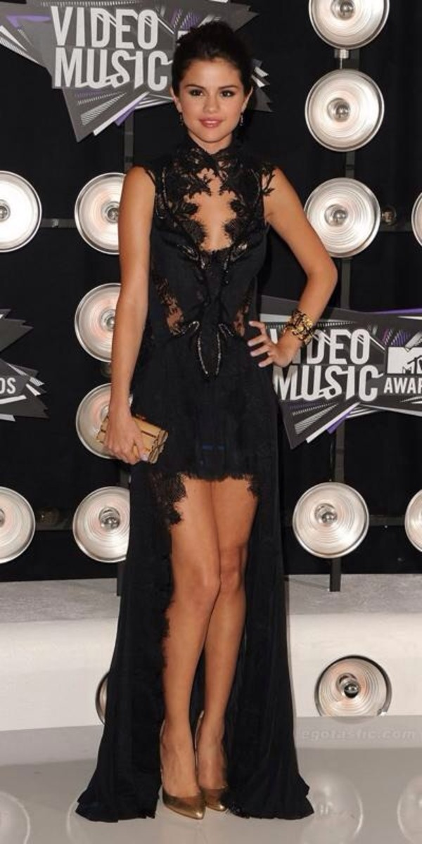 dress selena gomez black fish tail high-low dresses