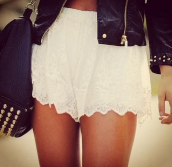 skirt white cute dentelle clothes shorts white shorts cream fabric shorts white shorts cream