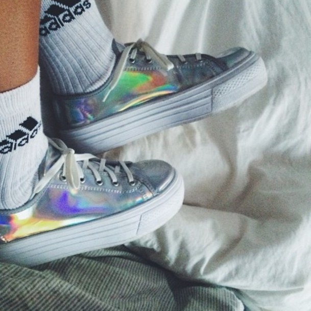 platform sneakers holographic shoes shoes