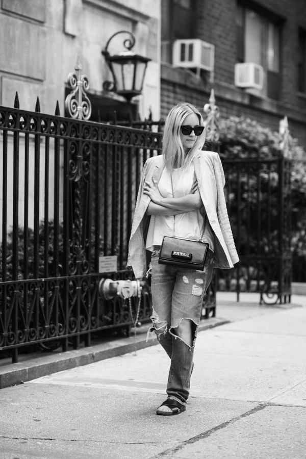 the fashion guitar jeans t-shirt jacket sunglasses bag