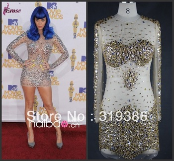Sexy See through Short Beaded Long Sleeve Scoop Neckline Zuhair Murad Evening Dress 2013 Prom Gown Cocktail dress-in Evening Dresses from Apparel & Accessories on Aliexpress.com