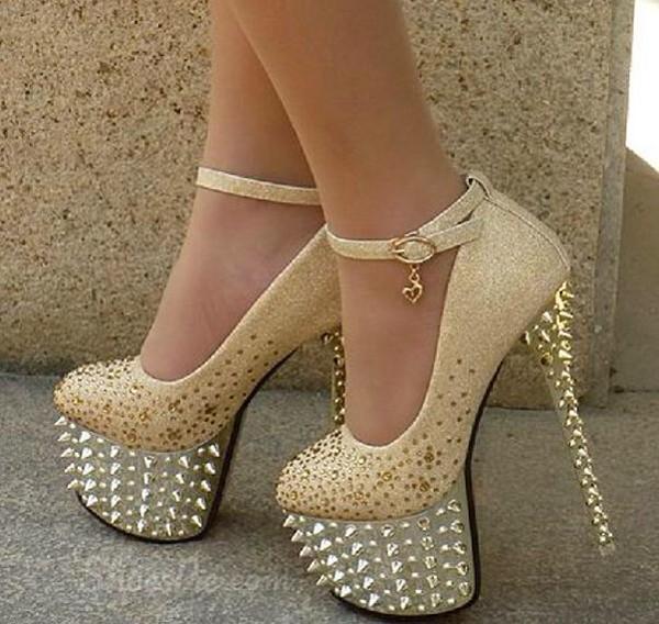 shoes high heels gold rhinestones spikes