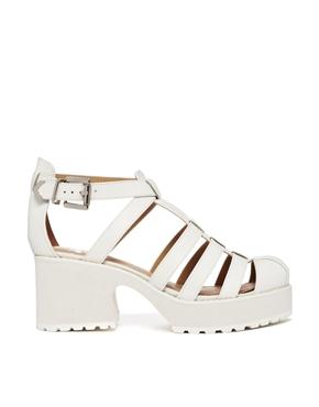 Shellys London | Shellys London Kaplow White Leather Gladiator Heeled Sandals at ASOS