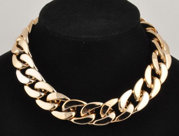 ID Style Aluminium Link Chain Choker Chunky Shiny Curb Chain Celebrity Necklace   eBay