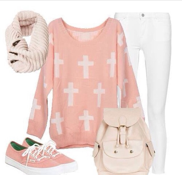 sweater pastel cute pink light pink white crosses pants shoes backpack
