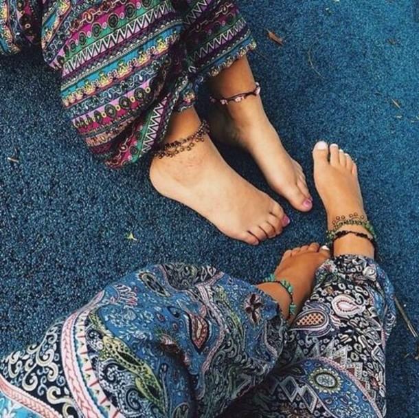 boho bohemian pant boho pants hippie hippie pants multicolors bohemian native american aztec mandala jewels boho pants pattern multicolor summer pants