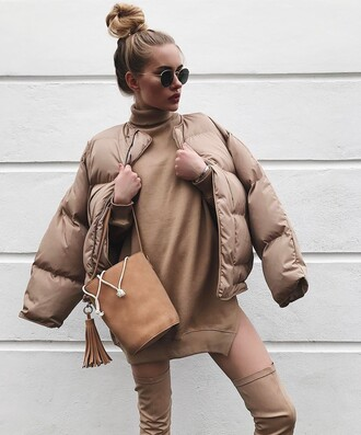 jacket tumblr nude jacket down jacket sweater dress knitwear turtleneck dress turtleneck mini dress mini knit dress nude dress boots over the knee boots thigh high boots sunglasses hair bun bag nude bag tassel all nude everything