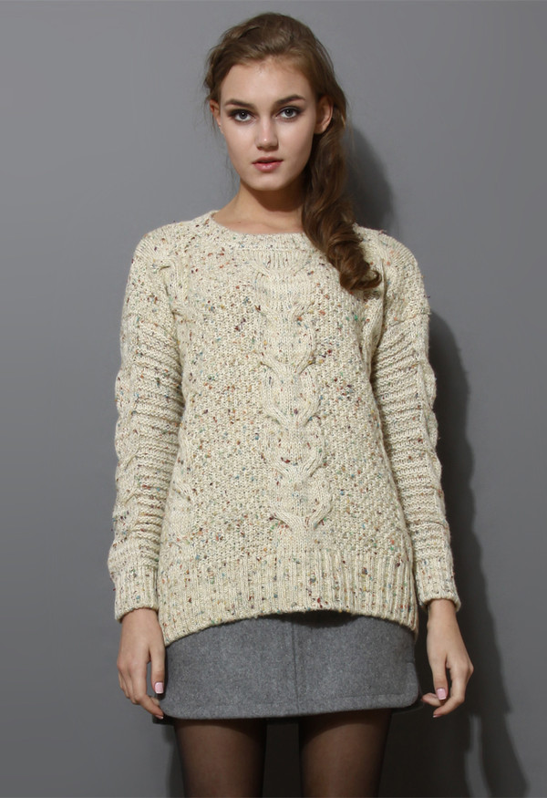 sweater candy dots cabe knit ivory