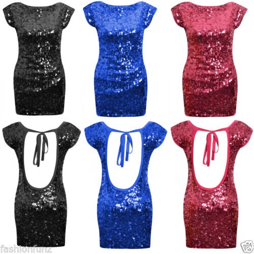 New Womens Ladies Beautifull Open Tie Back Sequin Bodycon Sexy Party Dress 8 14 | eBay