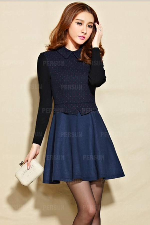Dark Polka Dot Dress with Color Block Sleeves [HT00035] - PersunMall.com
