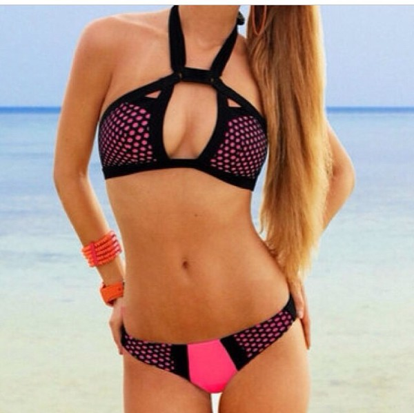 swimwear pink and black pink dress pink black bikini bikini