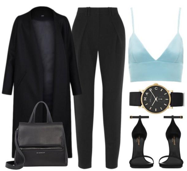 pants marc jacobs watch leather bag black coat sandals crop tops winter outfits tank top bag shoes black watch leather sandals coat