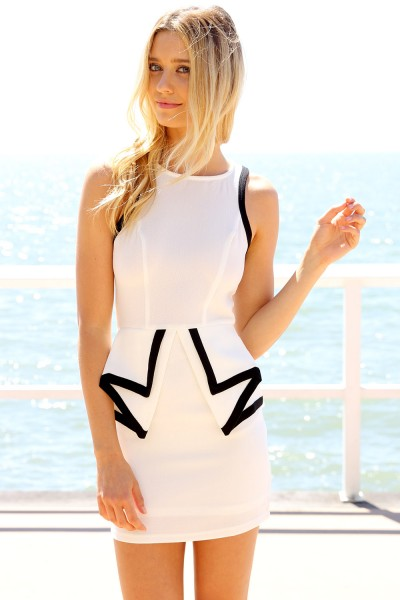 White Party Dress - White Sleeveless Fitted Peplum Dress | UsTrendy