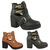 Ladies Womens Winter Cut Out Gold Buckle Biker Block Heel Ankle Boot Shoe Size | eBay