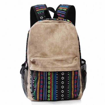 Vintage Tribe Pattern Colorful Wool Knitting Canvas Backpack