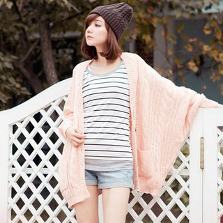 Batwing-Sleeve Loose-Fit Knit Cardigan - CatWorld | YESSTYLE United Kingdom