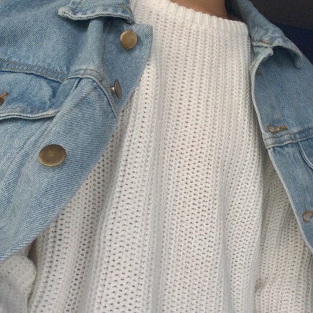 sweater knit denim jacket grunge