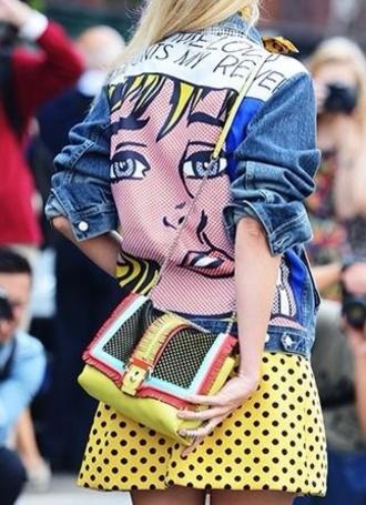 bag streetstyle colorblock shoulder bag jacket pop art