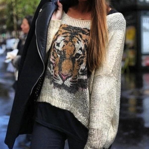sweater tiger orange shirt jumper white beige