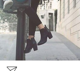 shoes black ankle boots leather