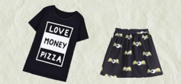 t-shirt pizza money black white black and white t-shirt top skirt eyeball pizza t-shirt