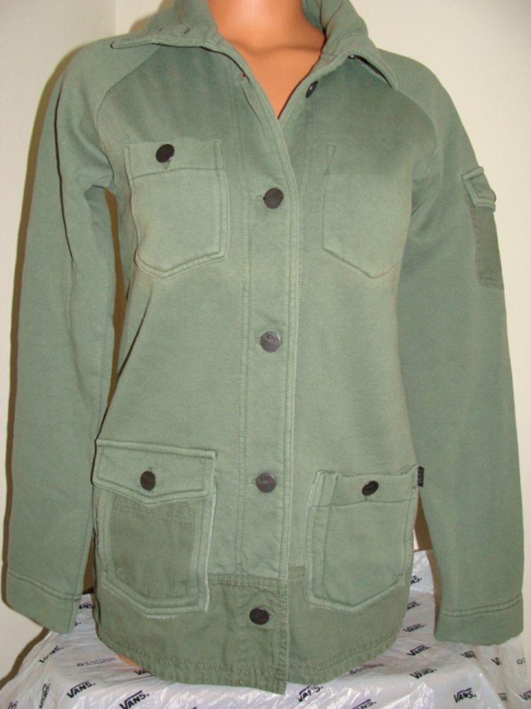 Vans Girls Off The Wall Womens Juniors Green Liutenant Jacket L Grunge Army | eBay