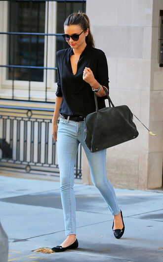 shirt black miranda kerr shoes bag sunglasses