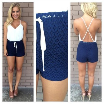 Girls, What to wear with navy lace shorts? Just a white tank top ...
