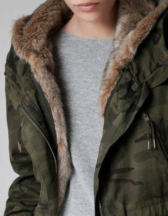 coat fur fur hood winter outfits winter coat camouflage military style double khaki zara camouflage coat
