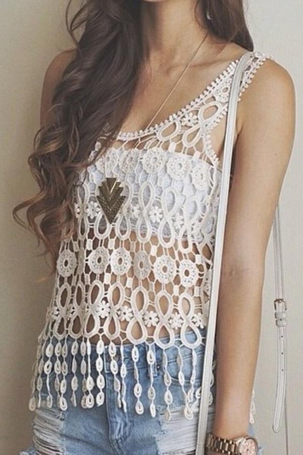 top crochet crochet top white tube top shorts denim shorts jewelery watch necklace distressed denim shorts