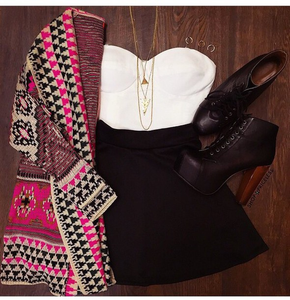 cardigan high heels black skirt skirt top white white top white crop tops jewels necklace outfit shoes