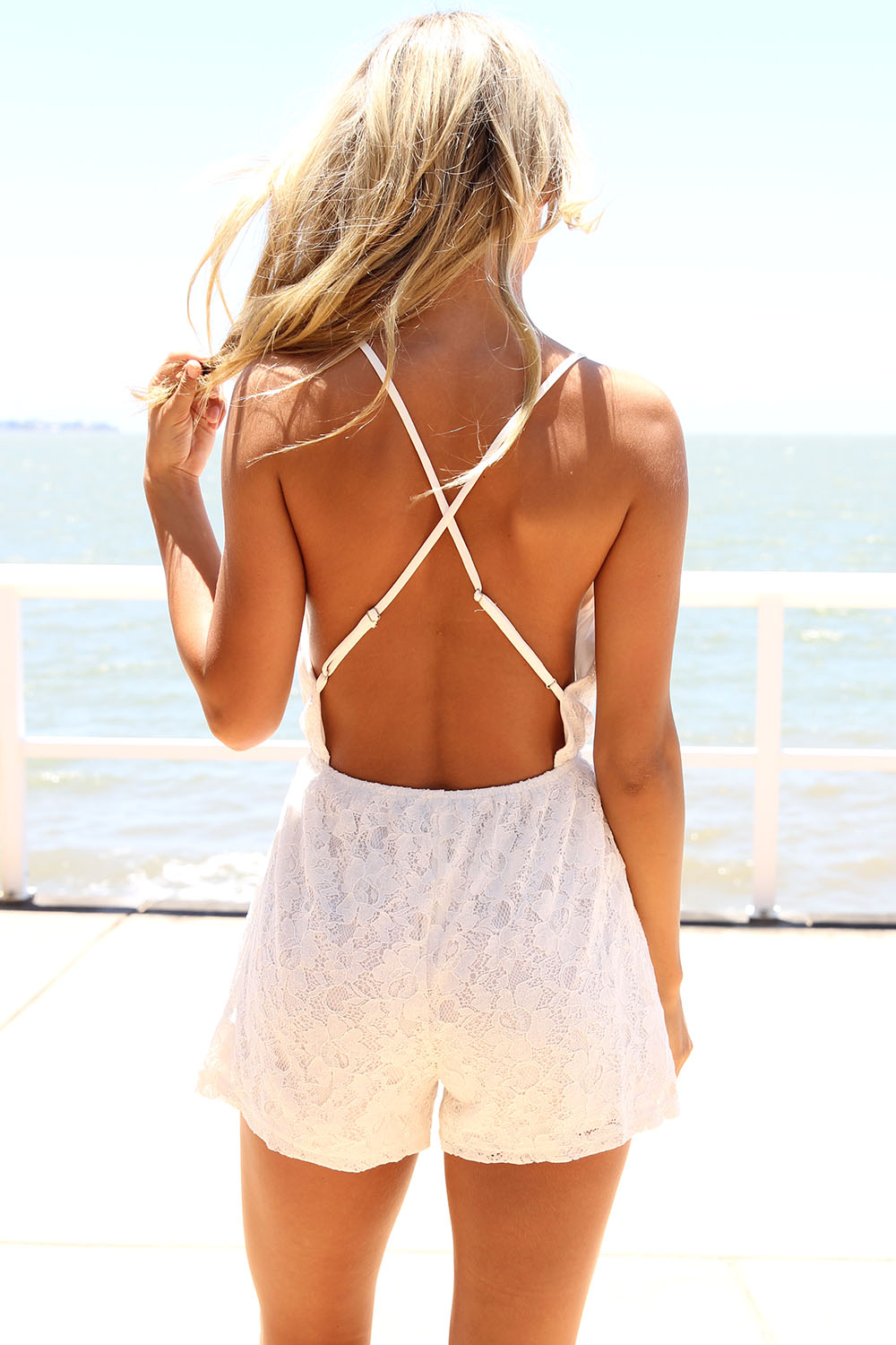 White Jump Suits/Rompers - White Lace Playsuit with Low | UsTrendy